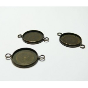 10 Supports pendentif connecteur 25mm camé cabochon Bronze