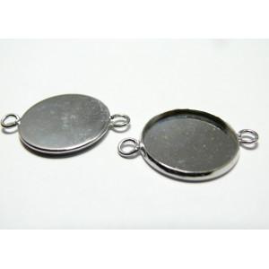 10 Supports double connecteur de pendentif 25mm qualité PP
