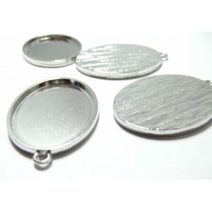 1 Support de pendentif oval 30 par 40mm PP qualité attache roonde