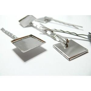 2 Supports de barrette carré plateau 20mm Argent platine