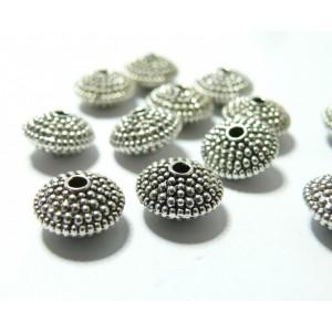 10 pieces perles ovales avec picot vieil argent REF 43