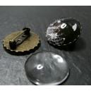 20 pièces: 10 supports de broche S vague 25mm BR et 10 cabochons