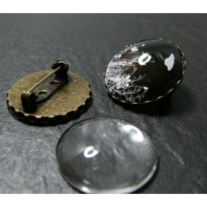10 pièces: 5 pièces support de broche vague 25mm BR et 5 cabochons