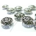 5 pièces perles cage fleurie ref 147 argentée