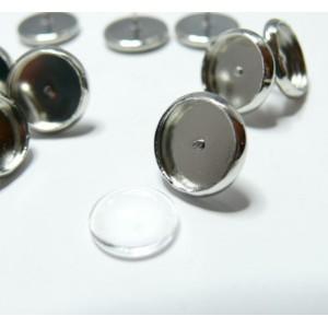 20 pièces: 10 Supports de Boucle d'oreille PP 14mm puce et 10 cab