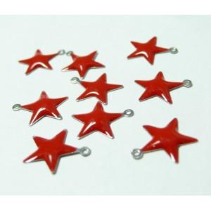 10 Pendentifs breloque étoile rouge en email.