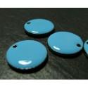 1 Pendentif pastille ronde bleues en email.
