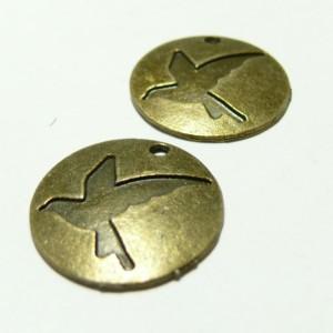 1 breloque bronze pendentif Oiseau rond