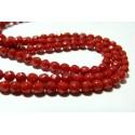 10 perles de corail rouge facettée ronde 4mm