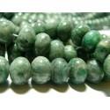 5 perles rondelles jade africaine vert 12 par 8mm