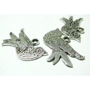 1 pendentif breloque oiseau stylisé