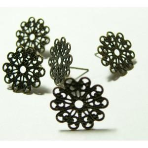 Apprêt bijoux: 10 pièces Boucles d'oreille puce dentelle16mm Bronze ref 23311