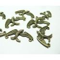 10 pendentifs breloque bronze connecteur oiseau ref 318