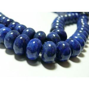 2 perles de lapis lazuli grade A rondelle 5 par 8mm