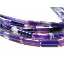 Lot 5 pieces perles 4 par 13mm agate violette tube