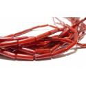 Lot 4 pieces perles 3 à 4 mm par 10mm corail rouge tube