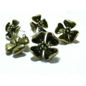 1 paire de Boucle d'oreille bronze fleurs puce
