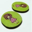 1 cabochon  bois pour création de pendentif ou bouton fillette ref 1