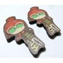 1 cabochon  bois pour création de pendentif ou bouton geek ref 5