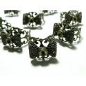 Apprêt bijoux 2 bagues noeud anneau dentelle bronze