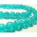 50 perles de verre craquelé bleu 8mm