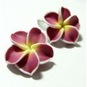 2 fleurs cabochons fimo ref 2G3208 26mm