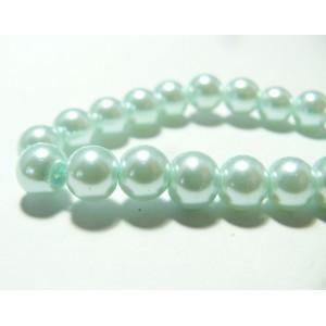 10 perles de verre nacre bleu ciel 10mm ref RB4-17