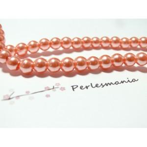15 perles de verre nacre rose saumon poudrée 4mm ref RB05