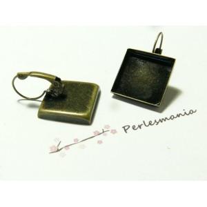 2 Supports de Boucle d'oreille carré 18 par 18 bronze bord épais