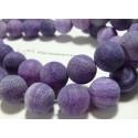 10 perles Agate craquelé effet givre violet 10mm