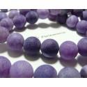 2 perles Agate craquelé effet givre violet 10mm