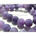 2 perles Agate craquelé effet givre violet 14mm