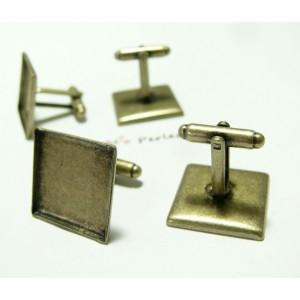 2 supports Boutons de manchettes carré 20 mm Bronze