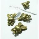 10 pieces pendentif breloque bronze lapin mignon 3D ref 2D1508