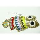 1 pendentif magnifique grande chouette multicolore