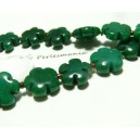 2 perles  fleurs jade teintée couleur vert foncé 16mm