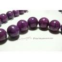 10 perles  jade teintée couleur violet pourpre 8mm