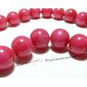 2 perles jade teintée rose bonbon 14mm