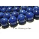 2 perles jade teintée lapis lazuli 16mm