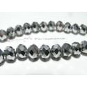 10  perles facettées rondelles argenté 8 par 10mm ref 2J1917