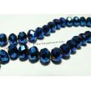 10  perles facettesé rondelles bleu nuit 6 par 8mm ref