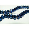 10 perles facettées rondelles bleu nuit 8 par 10mm ref