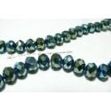 1 fil de 70  perles  facettées bleu vert argenté bleu 8 par 10mm ref 2J1417