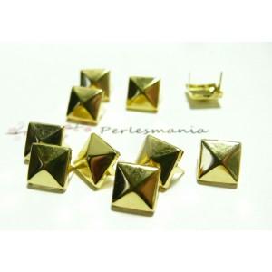lot de 50 clous rivet 6mm pyramide carré à griffe OR