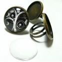 20 pièces:10 bagues double qualité 20mm  Bronze  et 10 cabochons