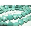 2 perles d'howlite turquoise jolie petite fleur ref 267
