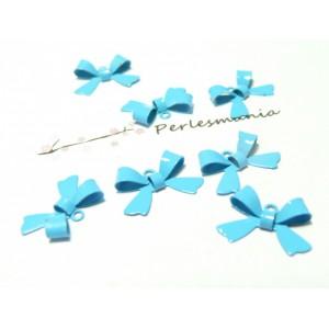 2 perles connecteur noeud en laiton laqué bleu clair