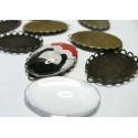 2 pièces: 1 Support de pendentif ovale vague 30 par 40 mm BR et 1 cab