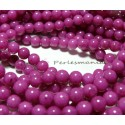 10 perles jade teintée couleur rose fushia 6mm