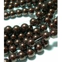 25 perles de verre nacré chocolat 8mm ref 2G5511